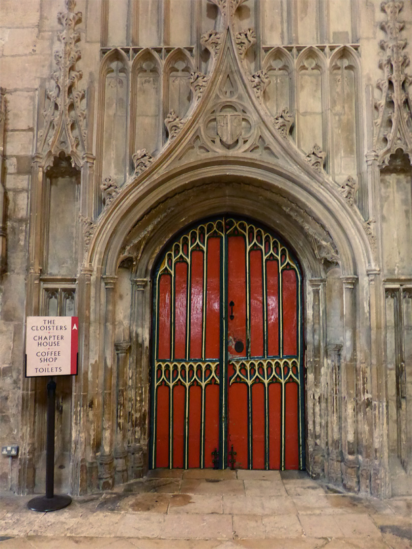 West cloister door & Photographs of Gloucester Cathedral Gloucestershire England: West ...