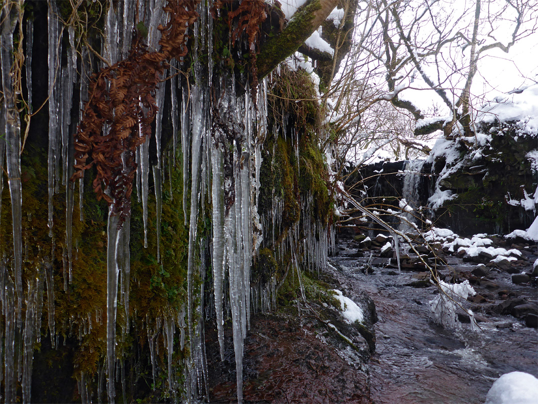 Icicles and waterfall