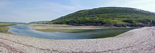 Pebble beach beside the Ogmore River