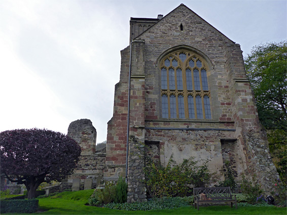 Buttresses at the east end of the church